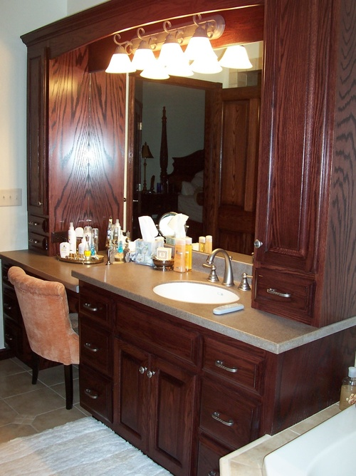 Bathroom Traditional Cherry Oak Cultured Marble