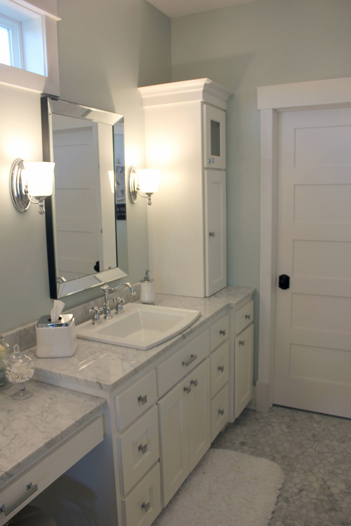 All White Bathroom Cabinetry