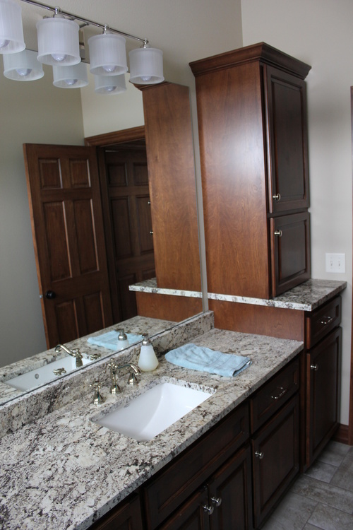 Bathroom Coffee Birch Granite with Extra Storage