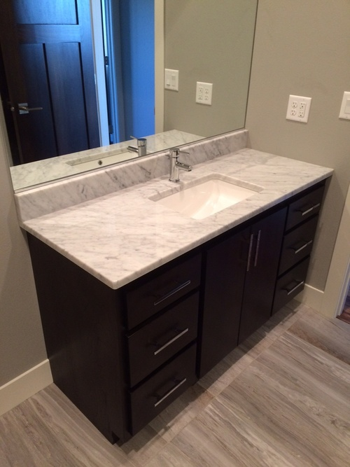 Bathroom Granite Counter top and Mocha Birch Cabinets