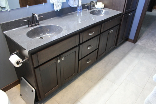 Bathroom Mocha Birch with Gray Cultured Marble Countertop
