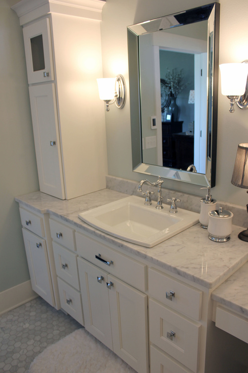 White Bathroom Birch Cabinets with Silver Hardware