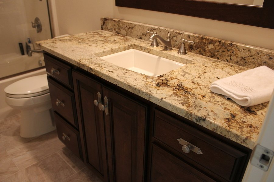 Bathroom Chestnut Birch Granite with light countertop