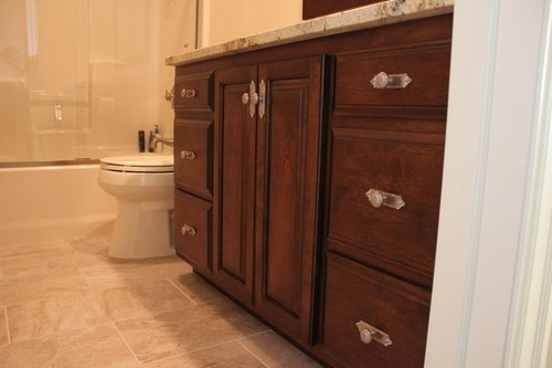 Bathroom Chestnut Birch Granite with silver hardware