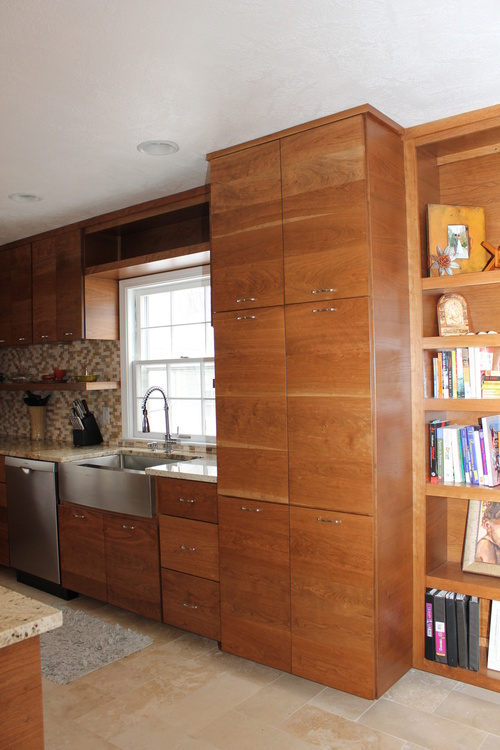Custom Kitchen Cabinet Storage in Stain Cherry