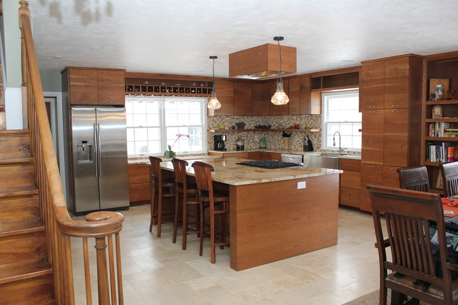 Full View of Custom Kitchen With Cherry and Granite