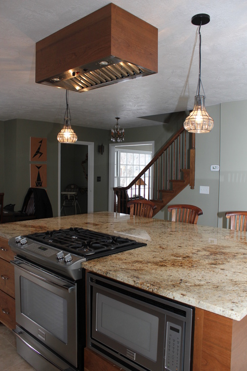 Granite Island and Stain Cherry Hood