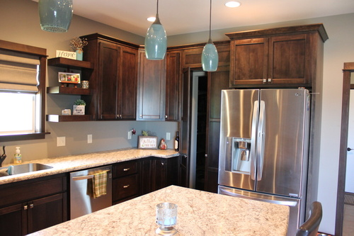 Kitchen Mocha Birch Laminate and Granite Island with Lighting