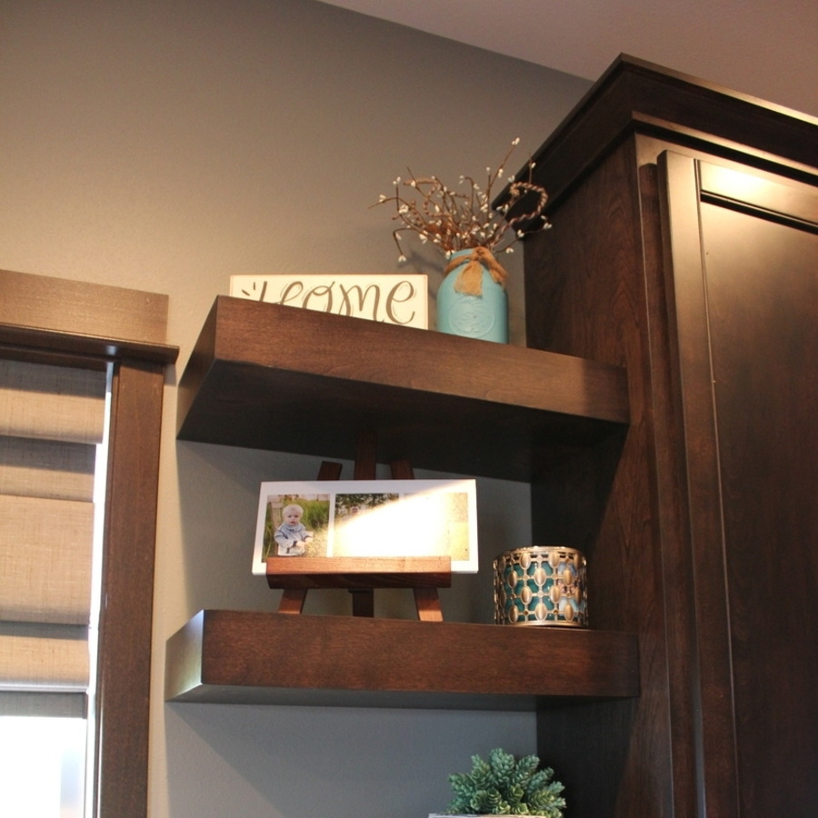 Mocha Birch Laminate Floating Shelves in Kitchen