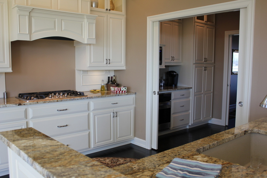 White Kitchen Painted Birch Cabinets and Trim