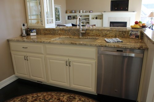 Lower Kitchen Cabinets Painted Birch with Granite