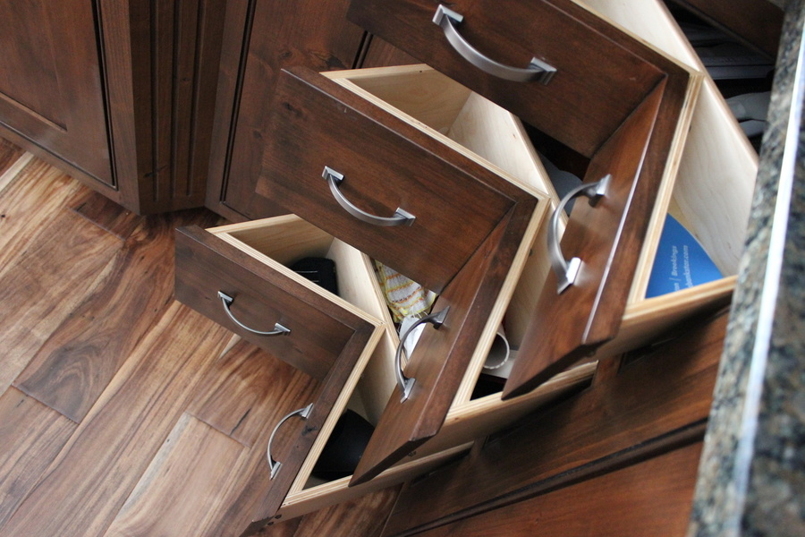 A Kitchen Latte Knotty Alder Cornerdrawer