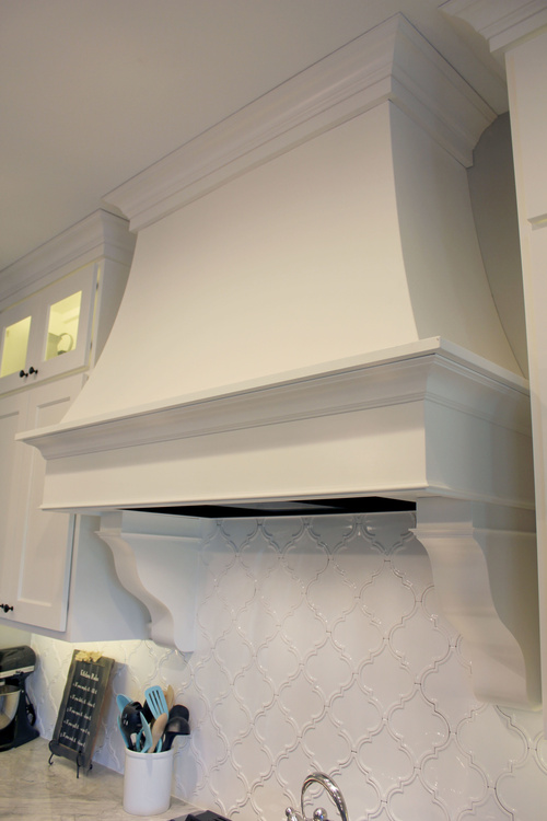 Custom White Kitchen Painted Birch Hood