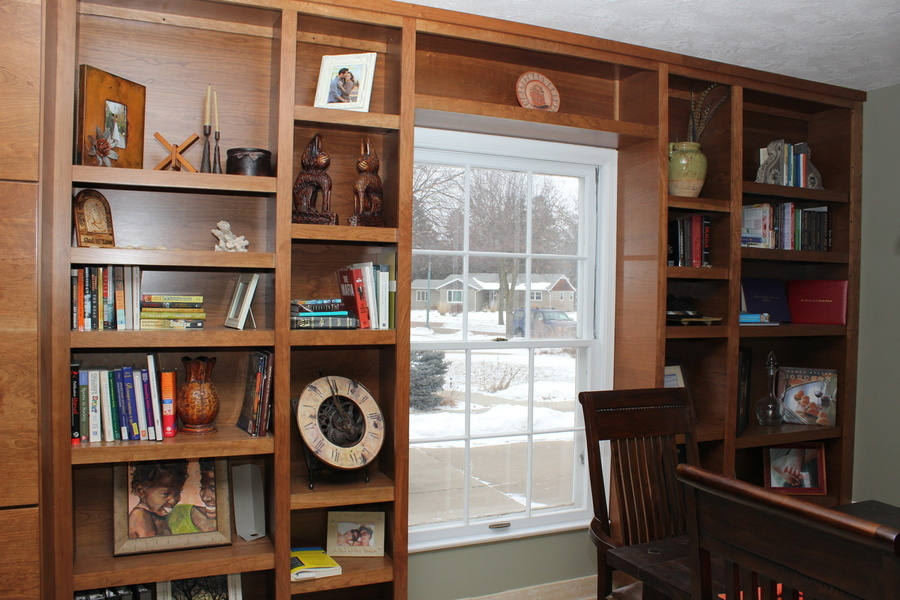 A Living Room Custom Stain Cherry Bookcase